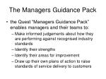 the managers guidance pack