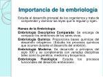 importancia de la embriolog a