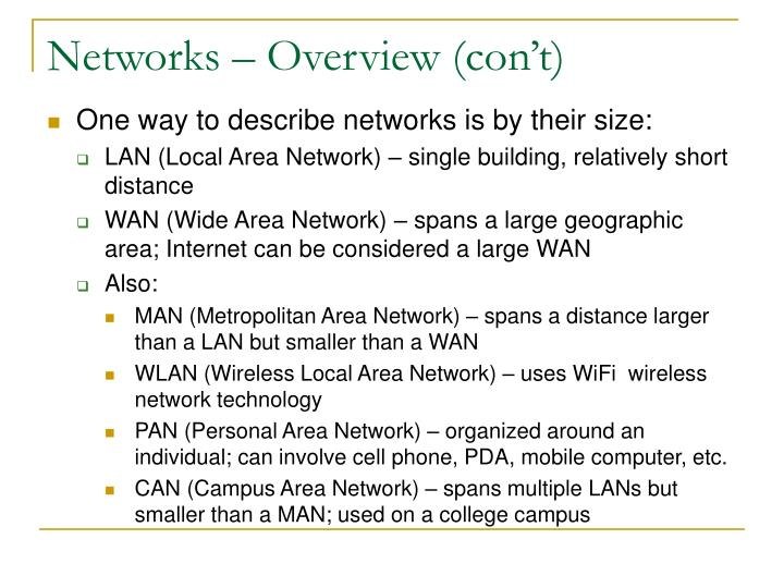 Networks overview con t