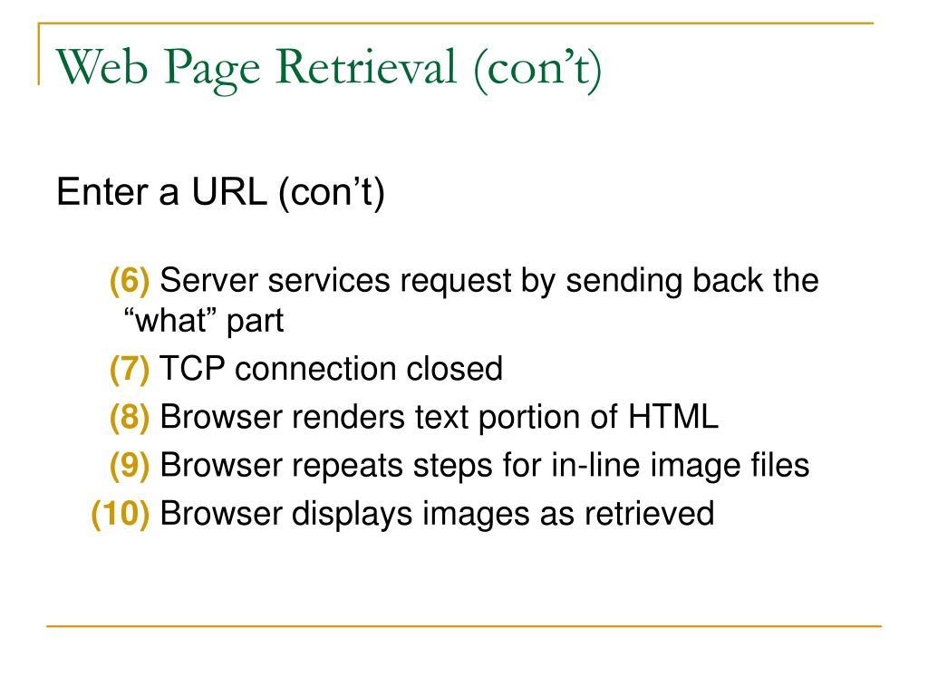 Web Page Retrieval (con't)