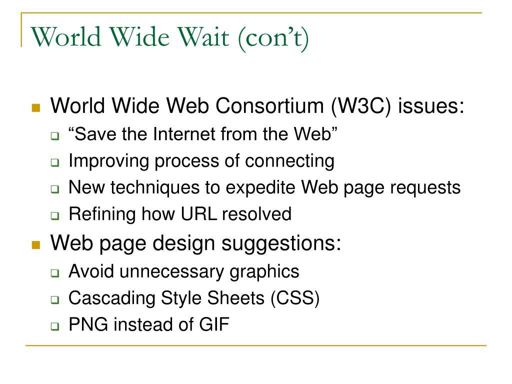 World Wide Wait (con't)