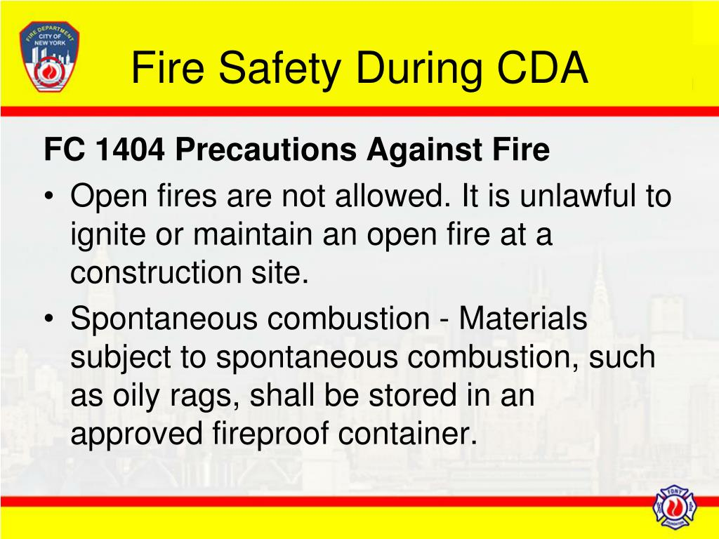 Fire Safety During CDA