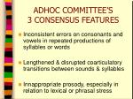 adhoc committee s 3 consensus features