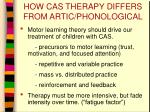 how cas therapy differs from artic phonological