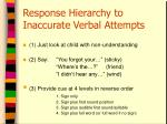 response hierarchy to inaccurate verbal attempts