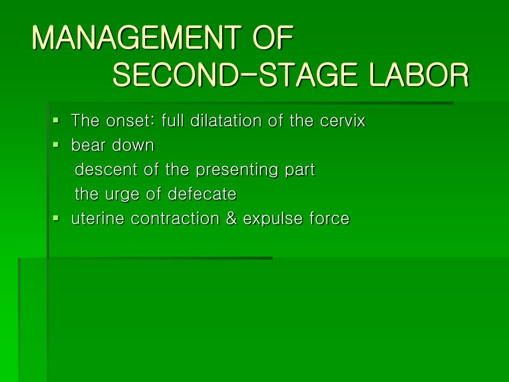 management of second stage labor l.