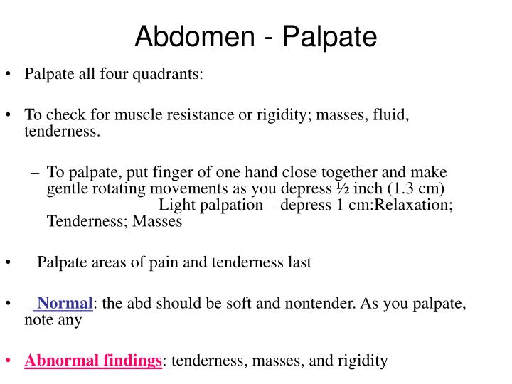 Abdomen - Palpate