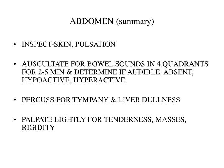 ABDOMEN (summary)