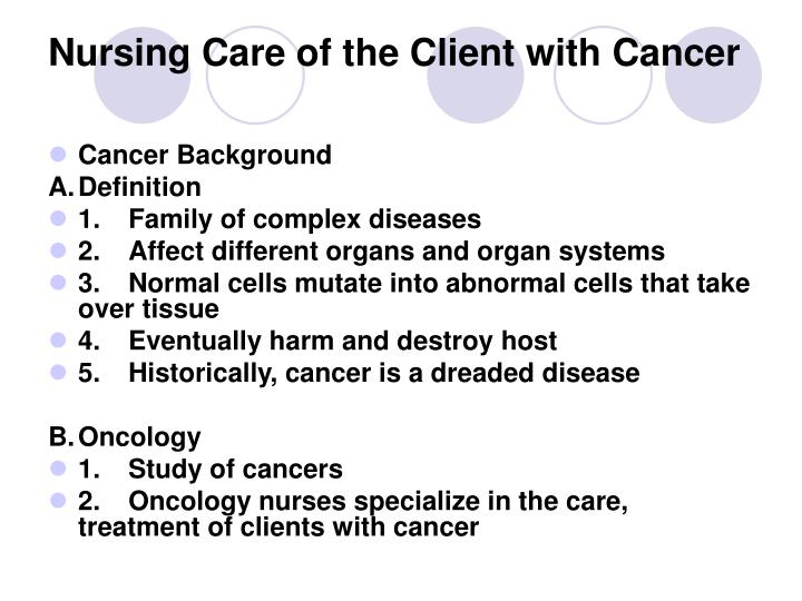 nursing care of the client with cancer n.