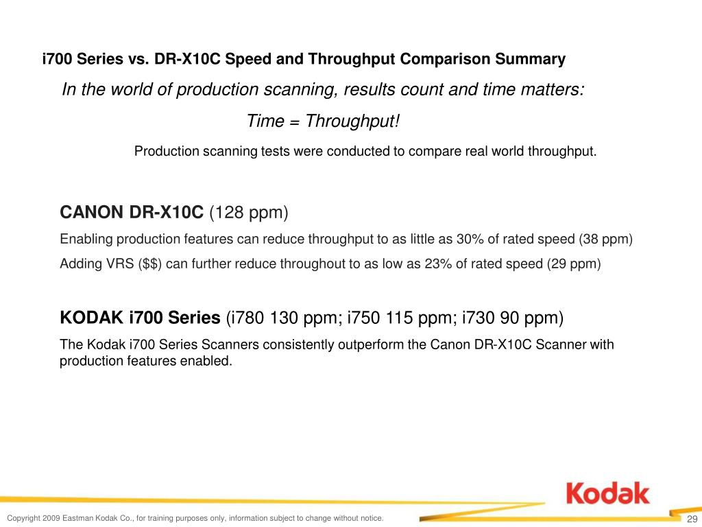 i700 Series vs. DR-X10C Speed and Throughput Comparison Summary