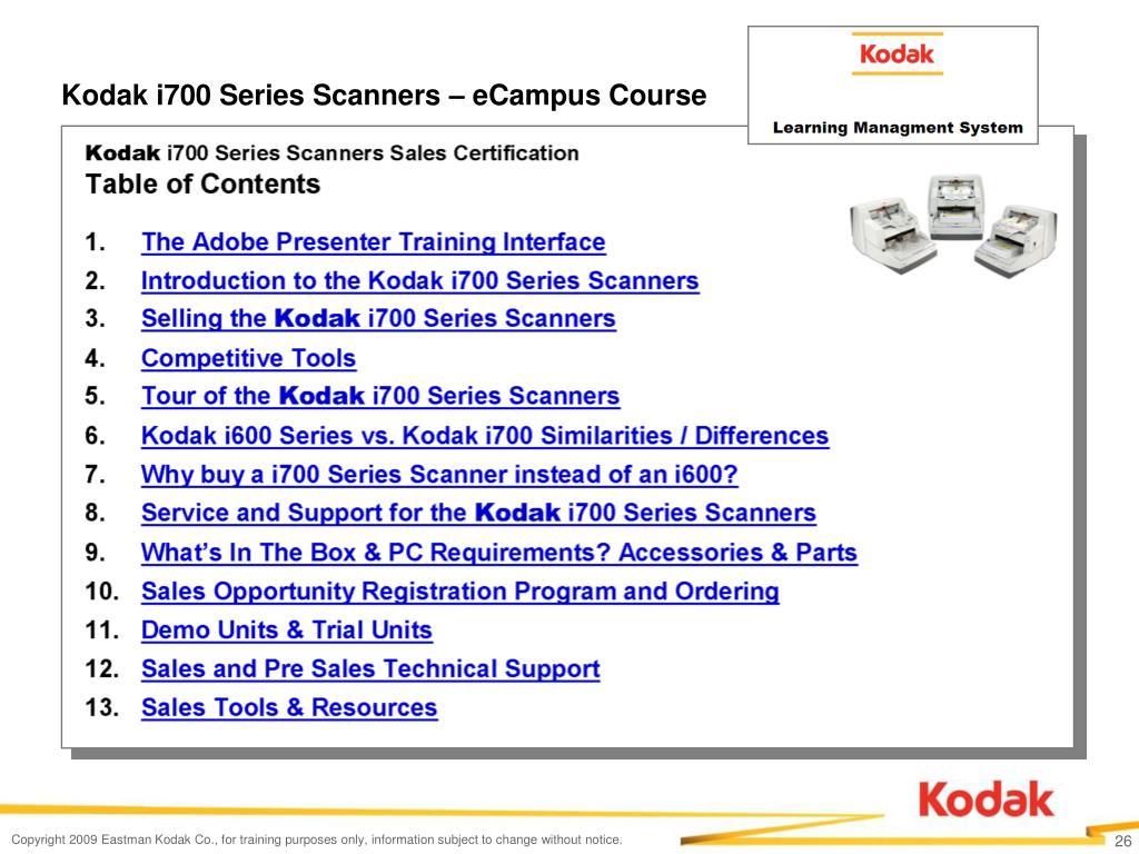 Kodak i700 Series Scanners – eCampus Course