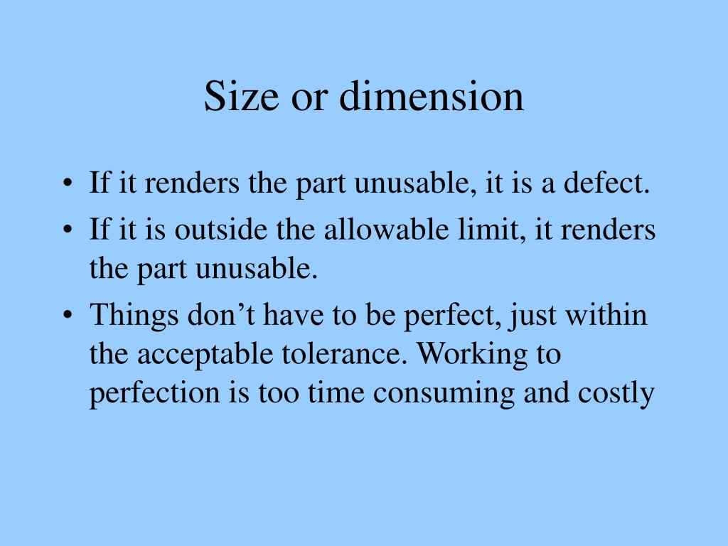 Size or dimension