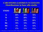 carcinoma gastrico avanzato distribuzione in base allo stadio