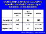 carcinoma gastrico avanzato mortalit morbidit degenza p o resezioni vs non resezioni