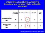 carcinoma gastrico avanzato resezione non curativa r2 e sede delle metastasi