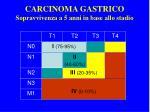carcinoma gastrico sopravvivenza a 5 anni in base allo stadio