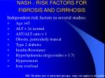 nash risk factors for fibrosis and cirrhosis