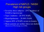 prevalence of nafld nash high risk groups