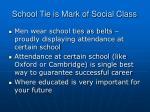 school tie is mark of social class