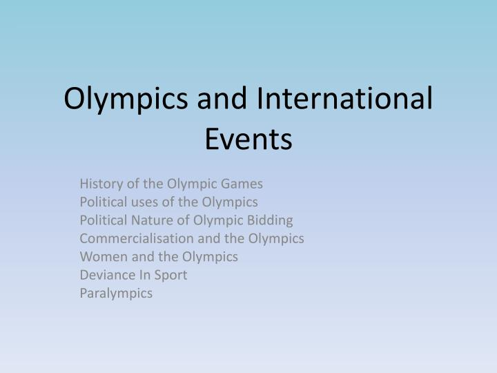 olympics and international events n.