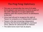 the ping pong diplomacy