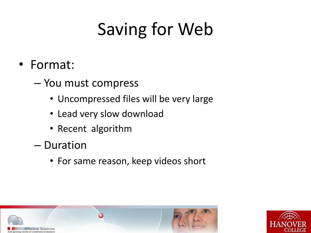 Saving for Web