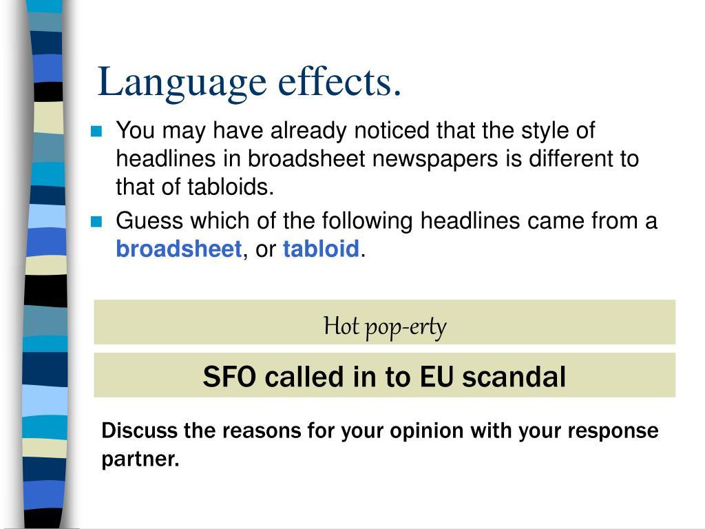 Language effects.