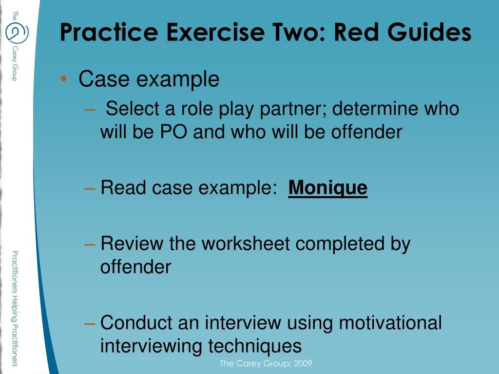 Practice Exercise Two: Red Guides