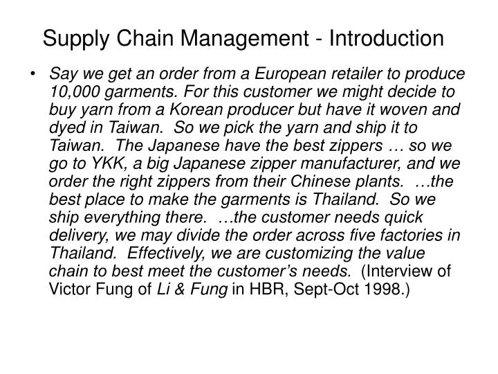 supply chain management introduction n.
