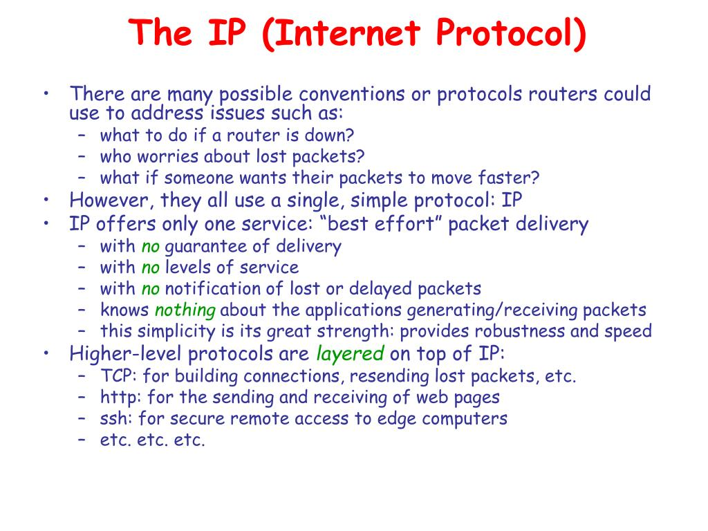The IP (Internet Protocol)
