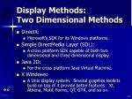 display methods two dimensional methods