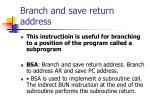 branch and save return address