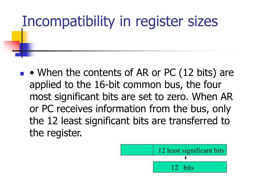 Incompatibility in register sizes