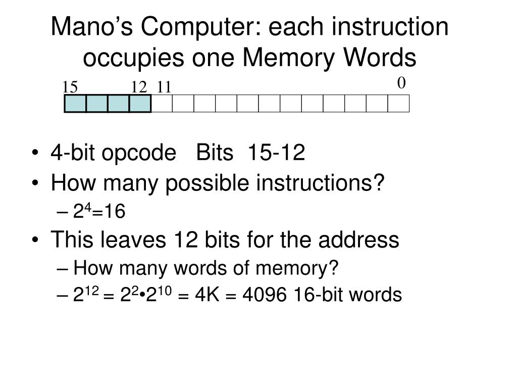 Mano's Computer: each instruction occupies one Memory Words