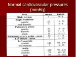 normal cardiovascular pressures mmhg
