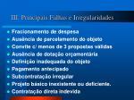 iii principais falhas e irregularidades