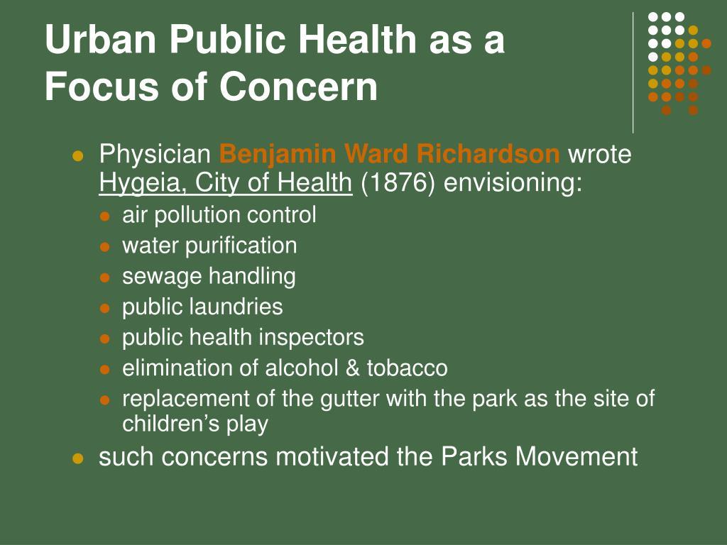 Urban Public Health as a Focus of Concern