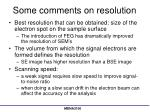 some comments on resolution