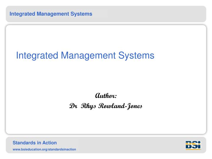 integrated management systems n.