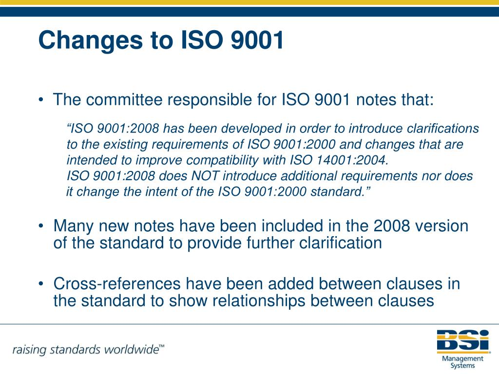 The committee responsible for ISO 9001 notes that: