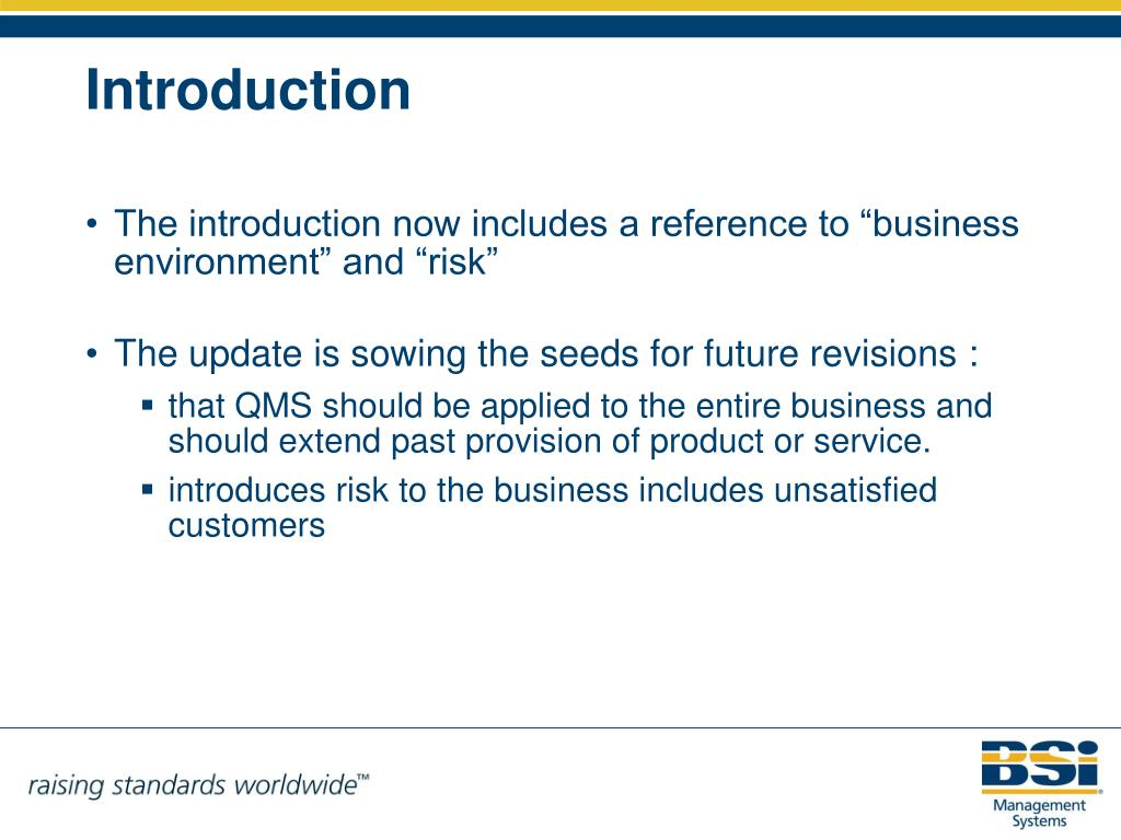 """The introduction now includes a reference to """"business environment"""" and """"risk"""""""