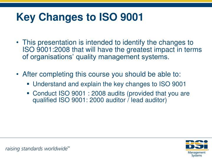 Key changes to iso 9001