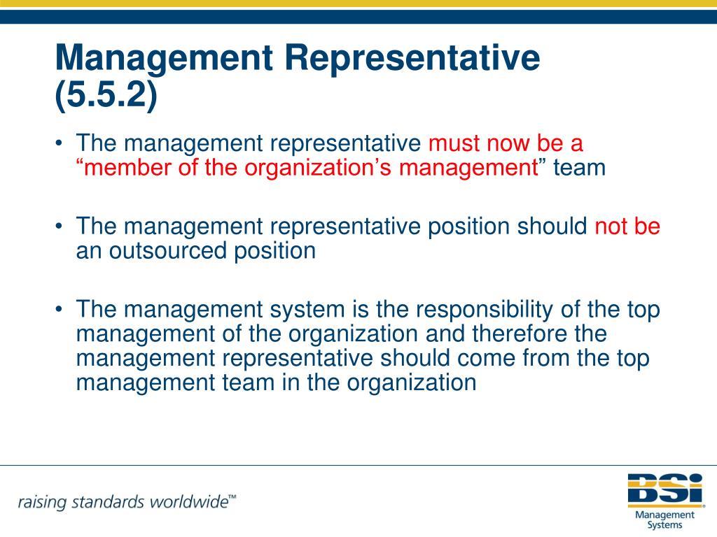 The management representative