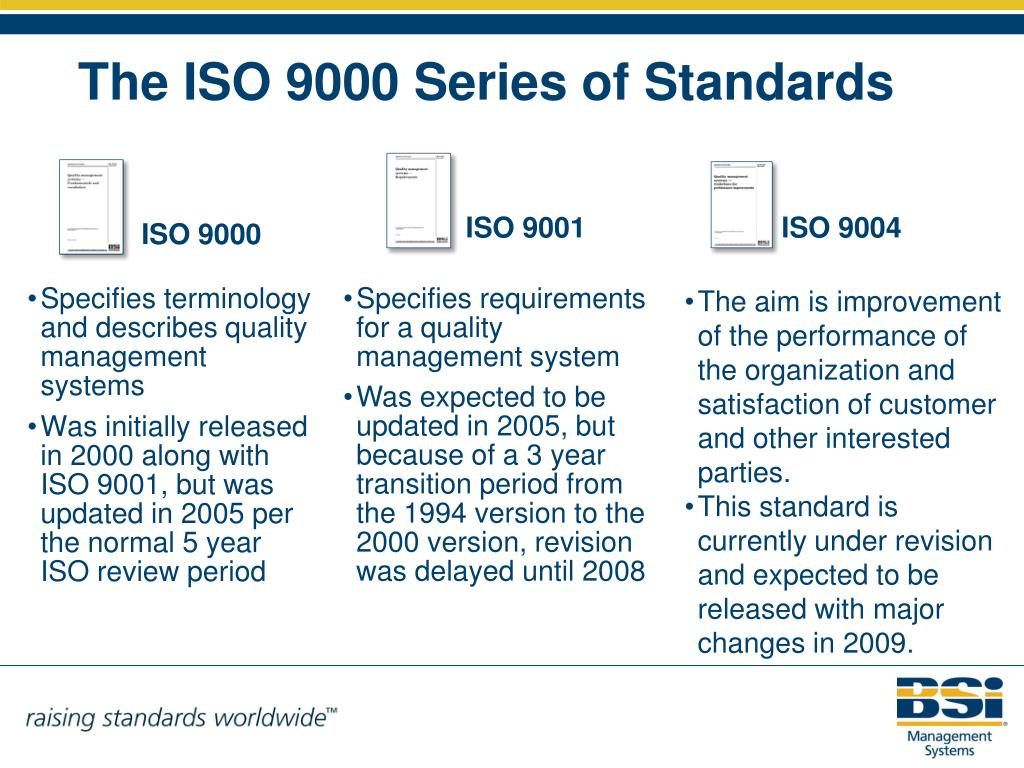 Specifies terminology and describes quality management systems