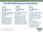 the iso 9000 series of standards