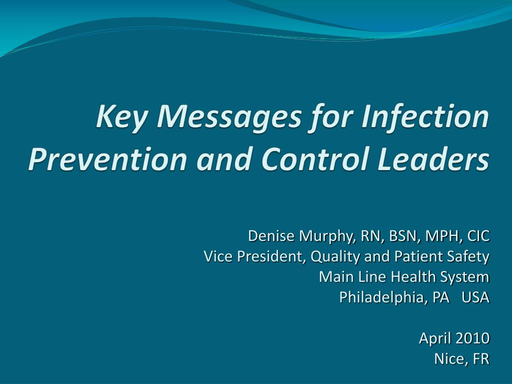 key messages for infection prevention and control leaders l.