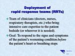 deployment of rapid response teams rrts