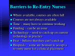 barriers to re entry nurses