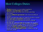 host colleges duties