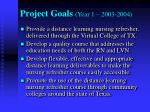 project goals year 1 2003 2004
